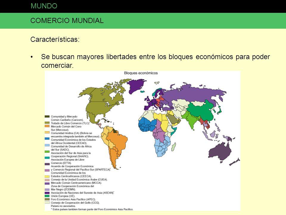 MUNDO COMERCIO MUNDIAL Características: Se buscan mayores libertades entre los bloques económicos para poder comerciar.