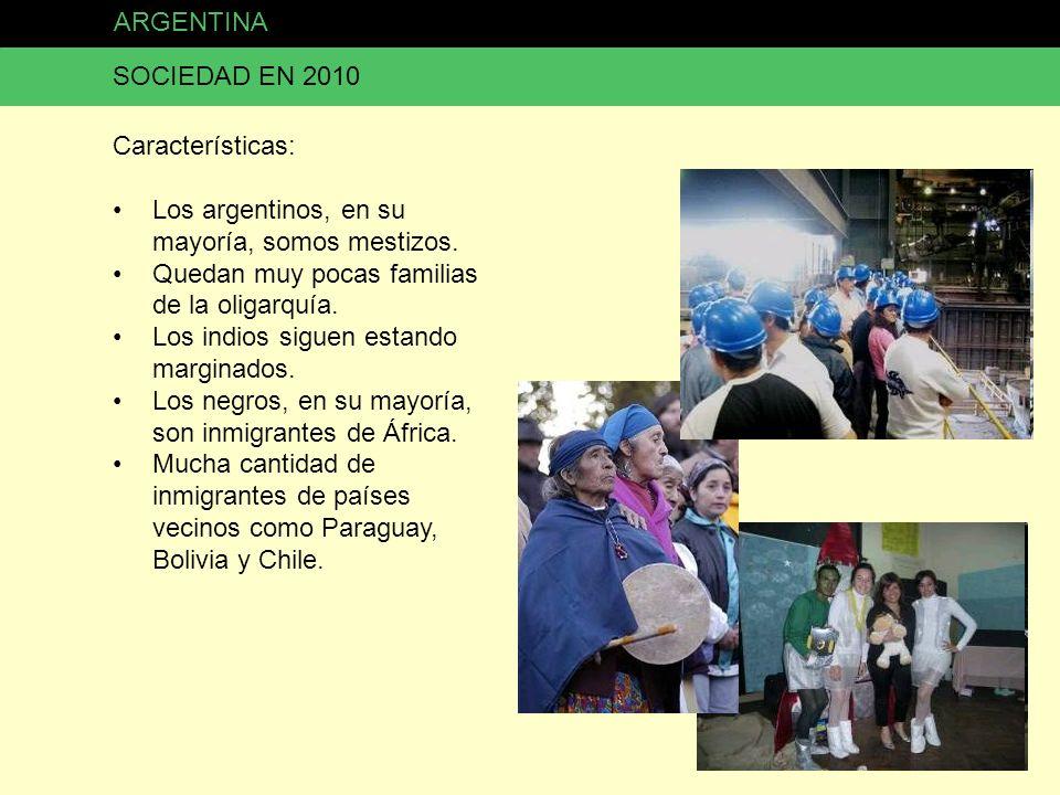 ARGENTINA SOCIEDAD EN 2010 Características: Los argentinos, en su mayoría, somos mestizos. Quedan muy pocas familias de la oligarquía. Los indios sigu