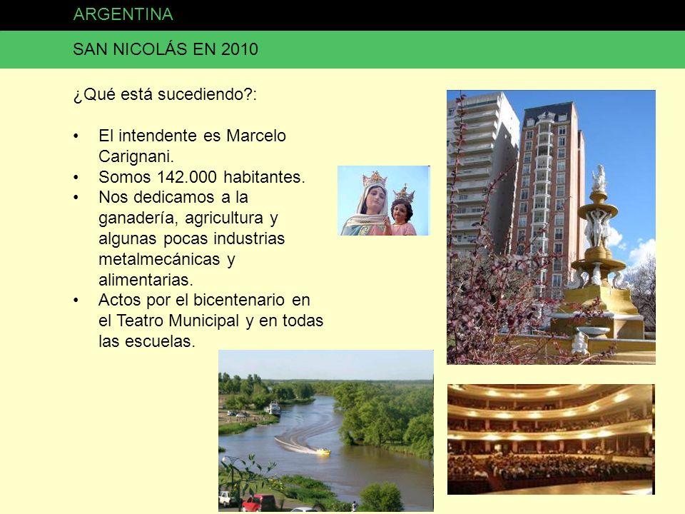ARGENTINA SAN NICOLÁS EN 2010 ¿Qué está sucediendo?: El intendente es Marcelo Carignani. Somos 142.000 habitantes. Nos dedicamos a la ganadería, agric