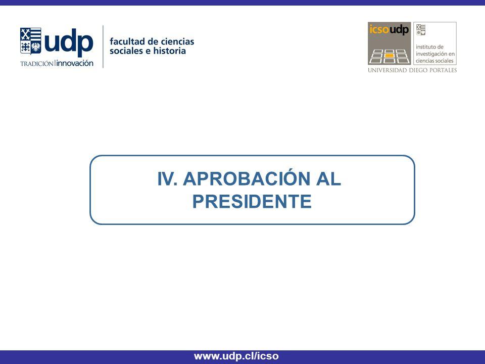 IV. APROBACIÓN AL PRESIDENTE www.udp.cl/icso