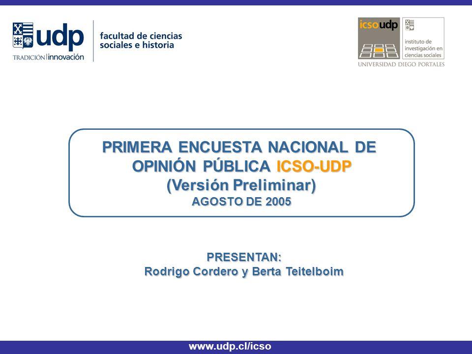 PRIMERA ENCUESTA NACIONAL DE OPINIÓN PÚBLICA ICSO-UDP (Versión Preliminar) AGOSTO DE 2005 www.udp.cl/icso PRESENTAN: Rodrigo Cordero y Berta Teitelboim