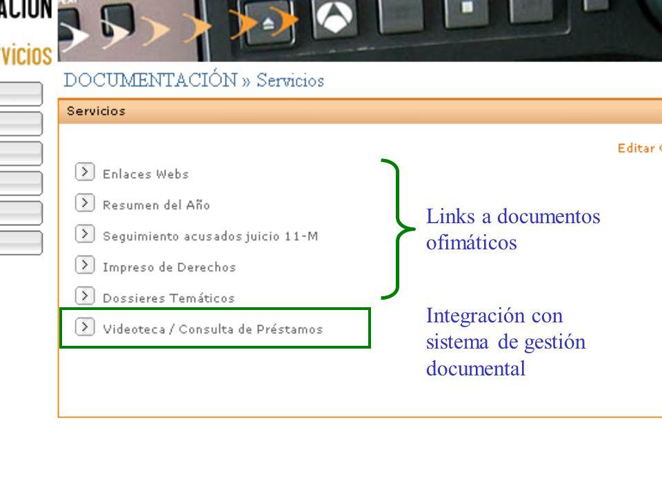 Links a documentos ofimáticos Integración con sistema de gestión documental
