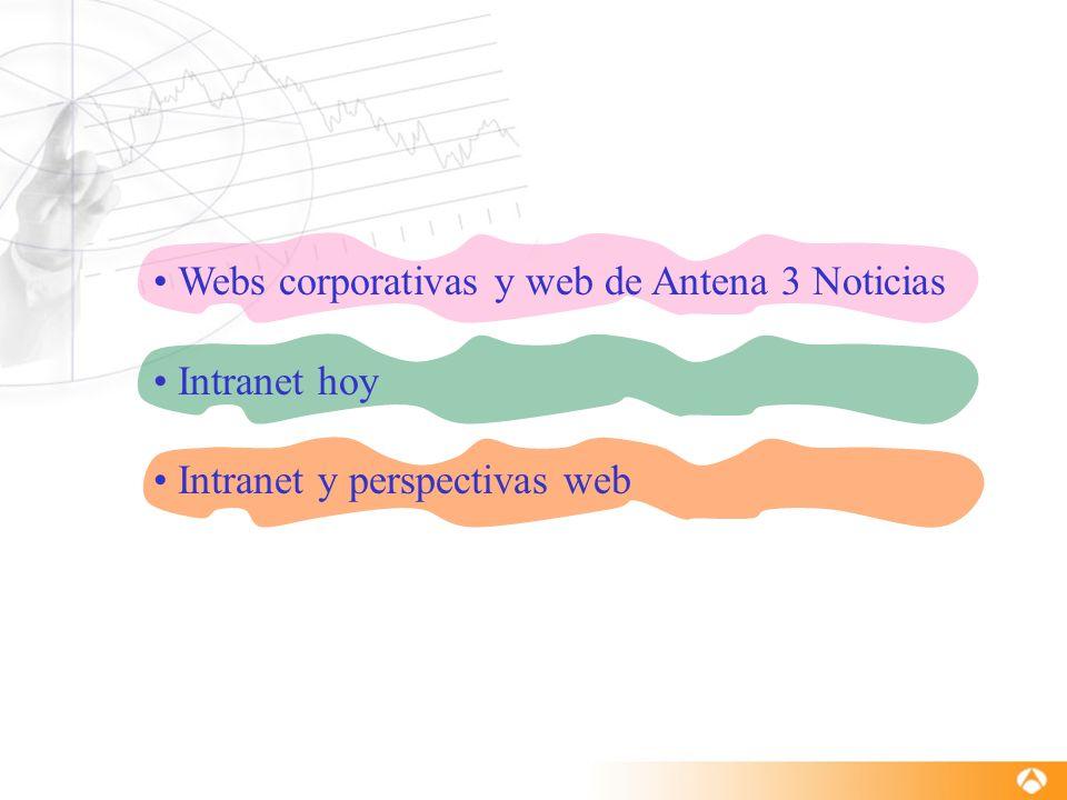 Webs corporativas y web de Antena 3 Noticias Intranet hoy Intranet y perspectivas web