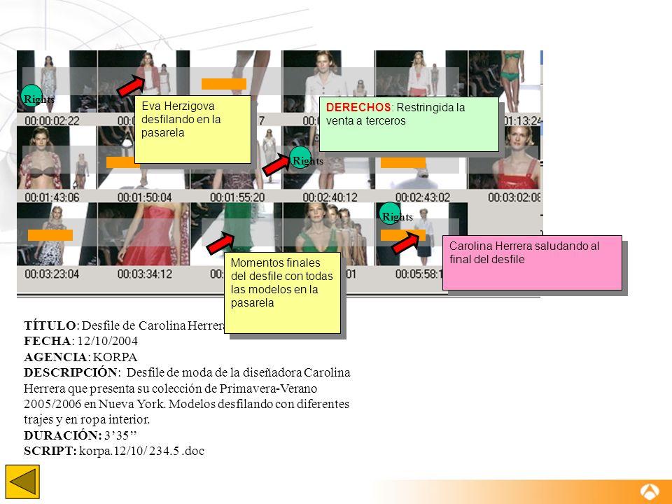 TÍTULO: Desfile de Carolina Herrera. Nueva York 2005 FECHA: 12/10/2004 AGENCIA: KORPA DESCRIPCIÓN: Desfile de moda de la diseñadora Carolina Herrera q