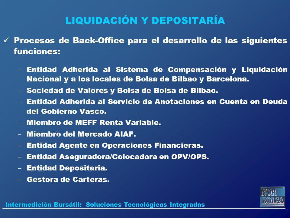 LIQUIDACIÓN Y DEPOSITARÍA Procesos de Back-Office para el desarrollo de las siguientes funciones: Entidad Adherida al Sistema de Compensación y Liquid