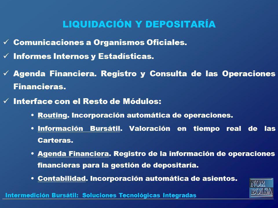 LIQUIDACIÓN Y DEPOSITARÍA Comunicaciones a Organismos Oficiales. Informes Internos y Estadísticas. Agenda Financiera. Registro y Consulta de las Opera
