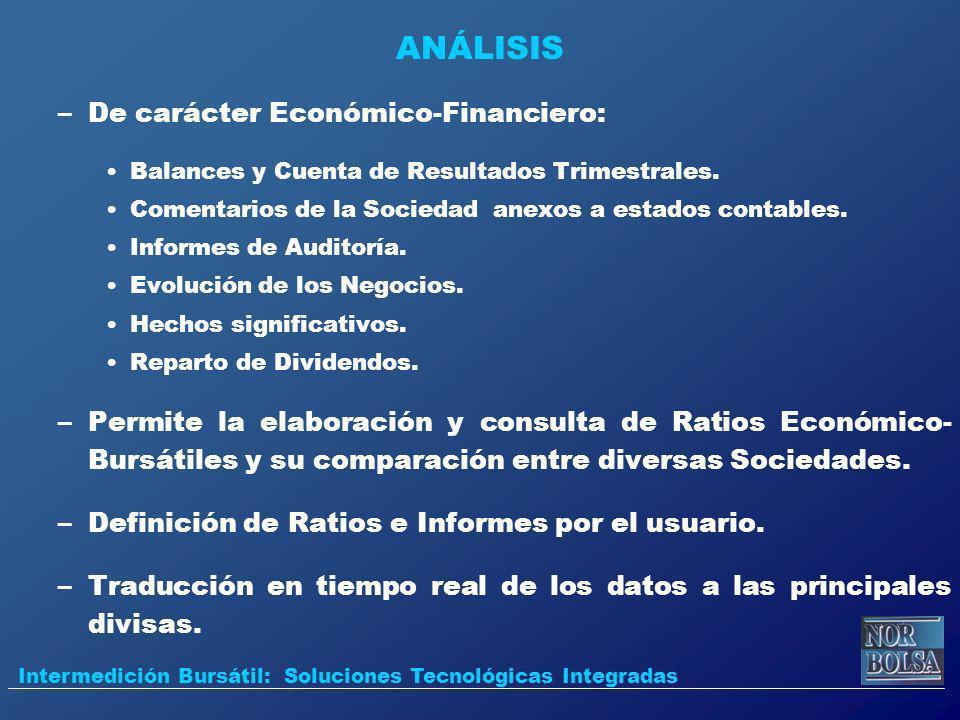 ANÁLISIS –De carácter Económico-Financiero: Balances y Cuenta de Resultados Trimestrales. Comentarios de la Sociedad anexos a estados contables. Infor