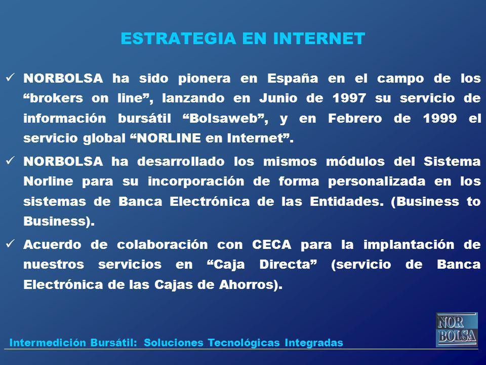 ESTRATEGIA EN INTERNET NORBOLSA ha sido pionera en España en el campo de los brokers on line, lanzando en Junio de 1997 su servicio de información bur