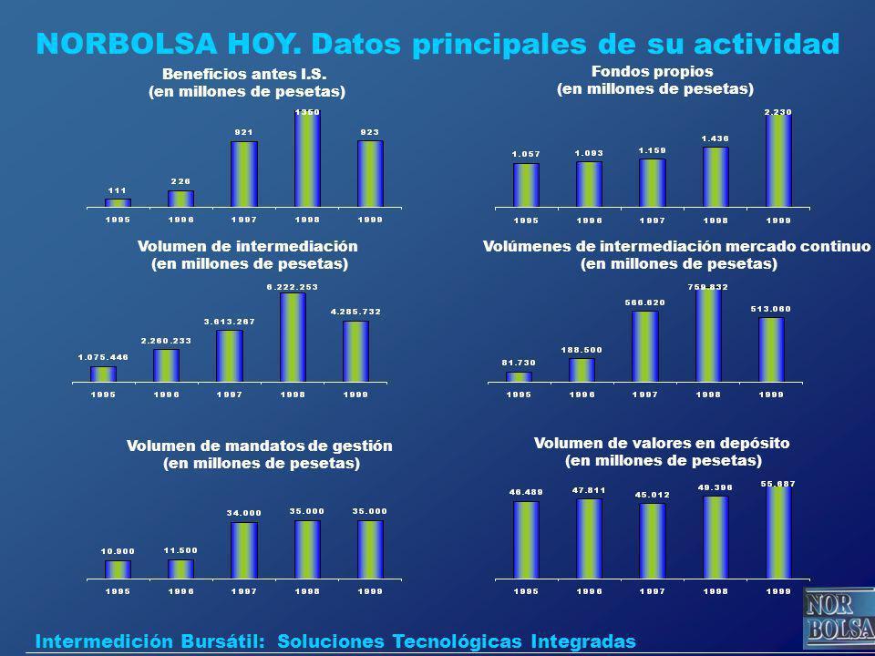 NORBOLSA HOY. Datos principales de su actividad Beneficios antes I.S. (en millones de pesetas) Fondos propios (en millones de pesetas) Volumen de inte