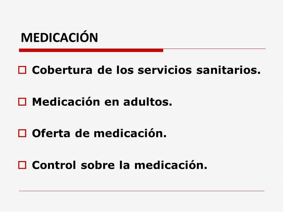 MEDICACIÓN Cobertura de los servicios sanitarios. Medicación en adultos. Oferta de medicación. Control sobre la medicación.