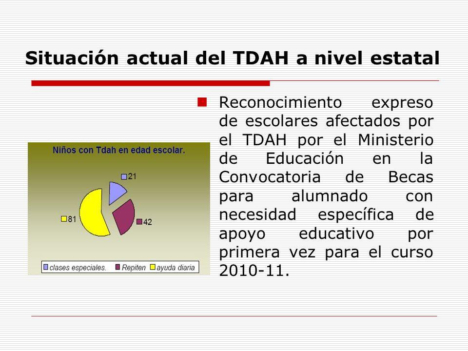 Situación actual del TDAH a nivel estatal Reconocimiento expreso de escolares afectados por el TDAH por el Ministerio de Educación en la Convocatoria de Becas para alumnado con necesidad específica de apoyo educativo por primera vez para el curso 2010-11.