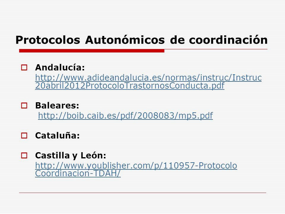 Protocolos Autonómicos de coordinación Andalucía: http://www.adideandalucia.es/normas/instruc/Instruc 20abril2012ProtocoloTrastornosConducta.pdf Baleares: http://boib.caib.es/pdf/2008083/mp5.pdf Cataluña: Castilla y León: http://www.youblisher.com/p/110957-Protocolo Coordinacion-TDAH/