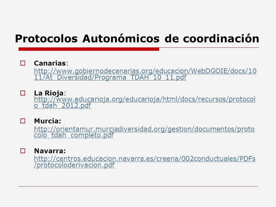 Protocolos Autonómicos de coordinación Canarias: http://www.gobiernodecanarias.org/educacion/WebDGOIE/docs/10 11/At_Diversidad/Programa_TDAH_10_11.pdf La Rioja: http://www.educarioja.org/educarioja/html/docs/recursos/protocol o_tdah_2012.pdf http://www.educarioja.org/educarioja/html/docs/recursos/protocol o_tdah_2012.pdf Murcia: http://orientamur.murciadiversidad.org/gestion/documentos/proto colo_tdah_completo.pdf Navarra: http://centros.educacion.navarra.es/creena/002conductuales/PDFs /protocoloderivacion.pdf
