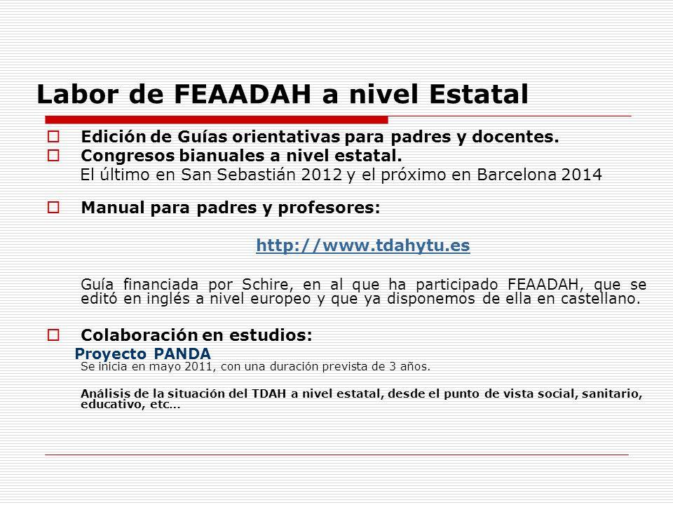 Labor de FEAADAH a nivel Estatal Edición de Guías orientativas para padres y docentes.