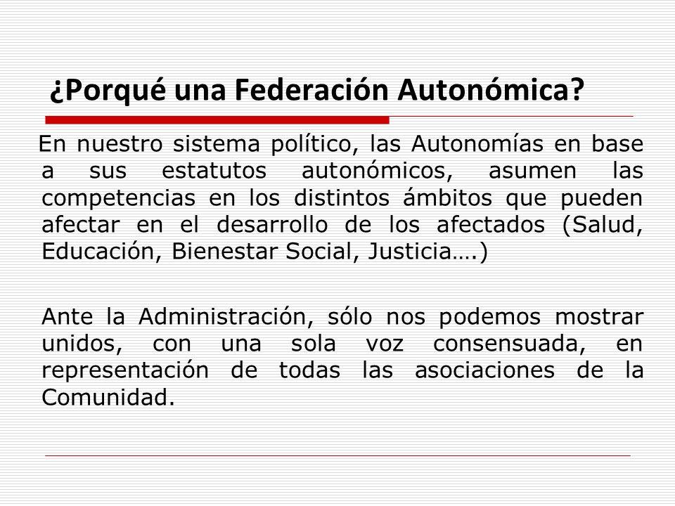 ¿Porqué una Federación Autonómica? En nuestro sistema político, las Autonomías en base a sus estatutos autonómicos, asumen las competencias en los dis