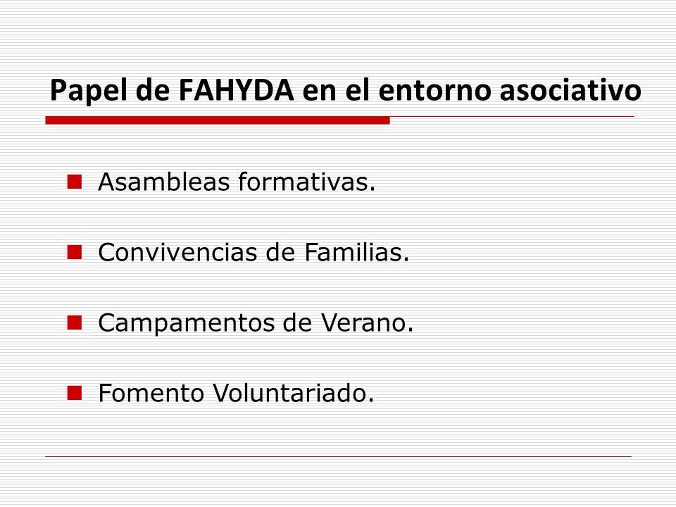 Papel de FAHYDA en el entorno asociativo Asambleas formativas. Convivencias de Familias. Campamentos de Verano. Fomento Voluntariado.