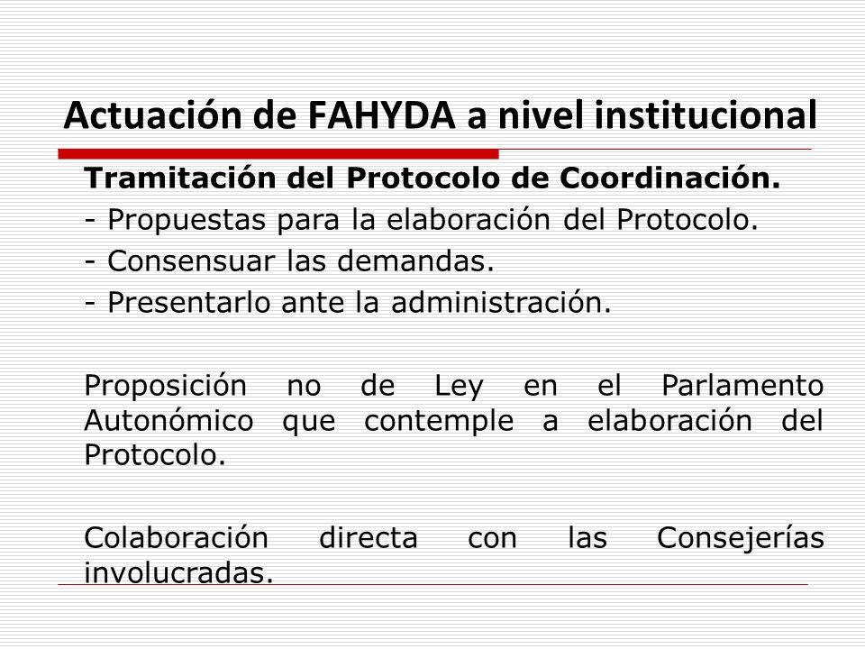 Actuación de FAHYDA a nivel institucional Tramitación del Protocolo de Coordinación. - Propuestas para la elaboración del Protocolo. - Consensuar las