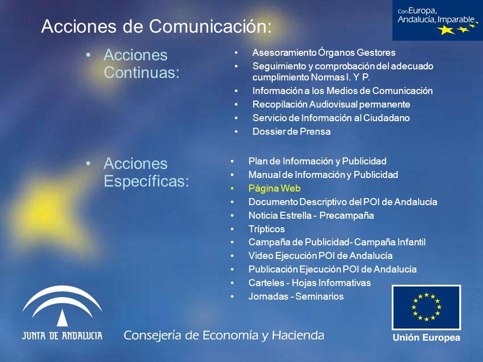 Acciones de Comunicación: Acciones Continuas: Asesoramiento Órganos Gestores Seguimiento y comprobación del adecuado cumplimiento Normas I. Y P. Infor