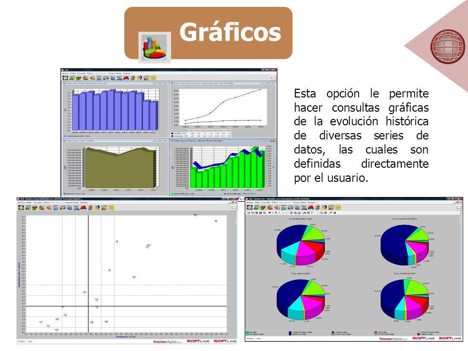 Esta opción le permite hacer consultas gráficas de la evolución histórica de diversas series de datos, las cuales son definidas directamente por el usuario.