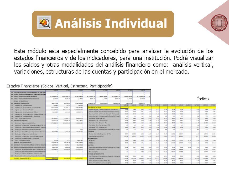 Este módulo esta especialmente concebido para analizar la evolución de los estados financieros y de los indicadores, para una institución.
