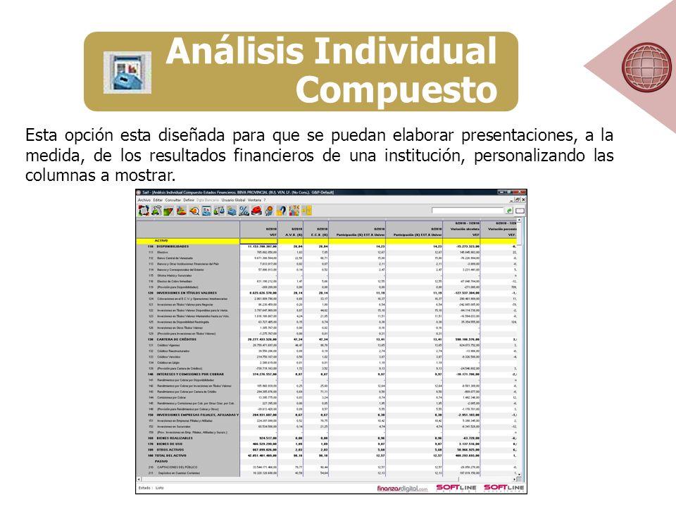 Esta opción esta diseñada para que se puedan elaborar presentaciones, a la medida, de los resultados financieros de una institución, personalizando las columnas a mostrar.
