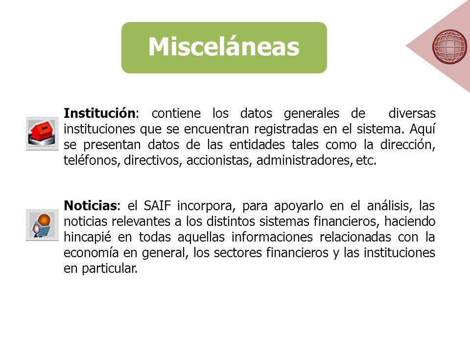 Misceláneas Institución: contiene los datos generales de diversas instituciones que se encuentran registradas en el sistema.