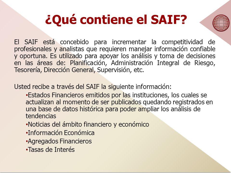 ¿Qué contiene el SAIF.