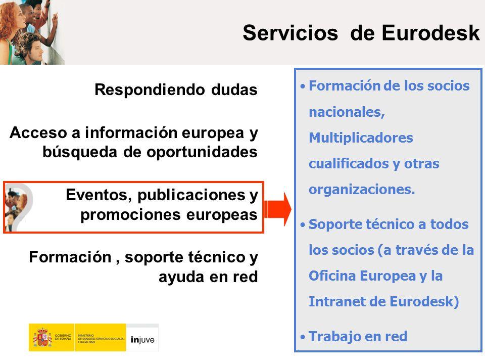 Servicios de Eurodesk Respondiendo dudas Acceso a información europea y búsqueda de oportunidades Eventos, publicaciones y promociones europeas Formación, soporte técnico y ayuda en red Formación de los socios nacionales, Multiplicadores cualificados y otras organizaciones.