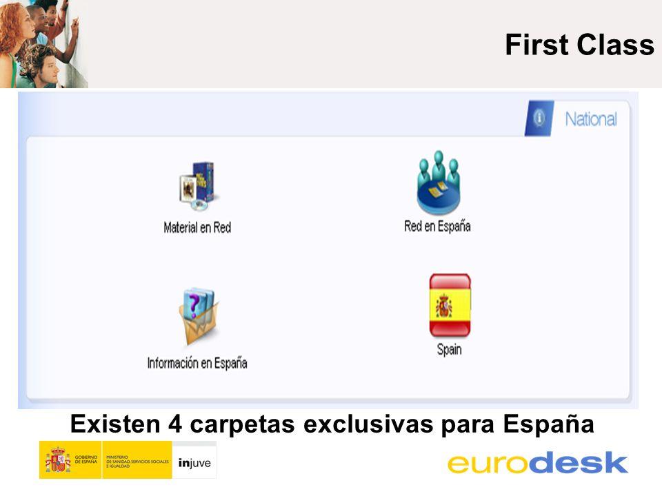 Existen 4 carpetas exclusivas para España Dudas del Portal Europeo de Juventud First Class Preguntas Generales Material Compartido Programas, Becas y Convocatorias