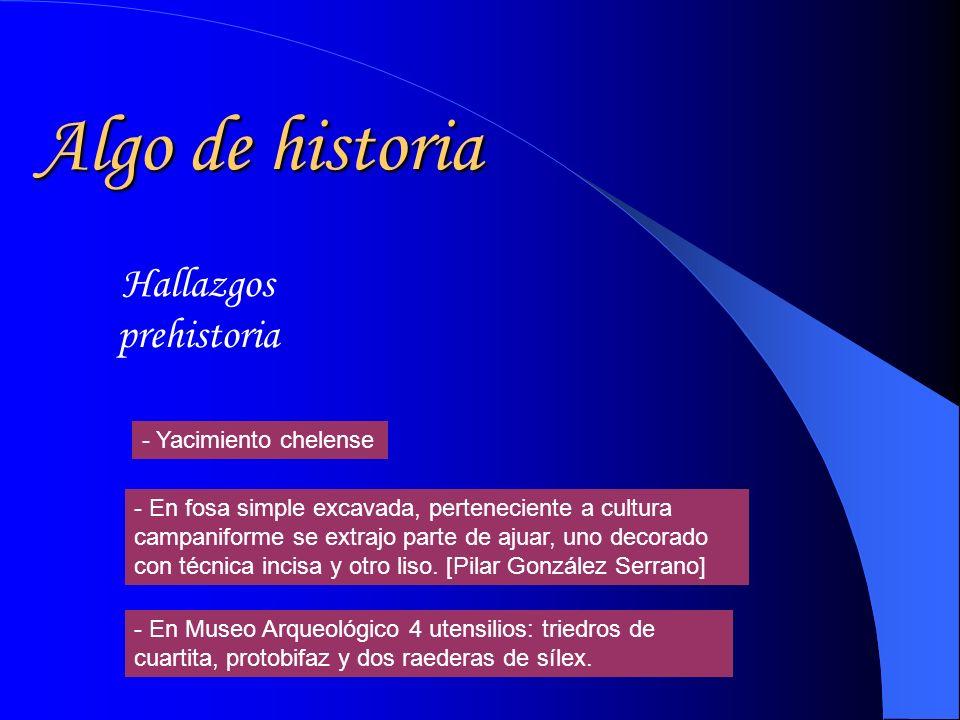 Algo de historia Hallazgos prehistoria - En fosa simple excavada, perteneciente a cultura campaniforme se extrajo parte de ajuar, uno decorado con técnica incisa y otro liso.