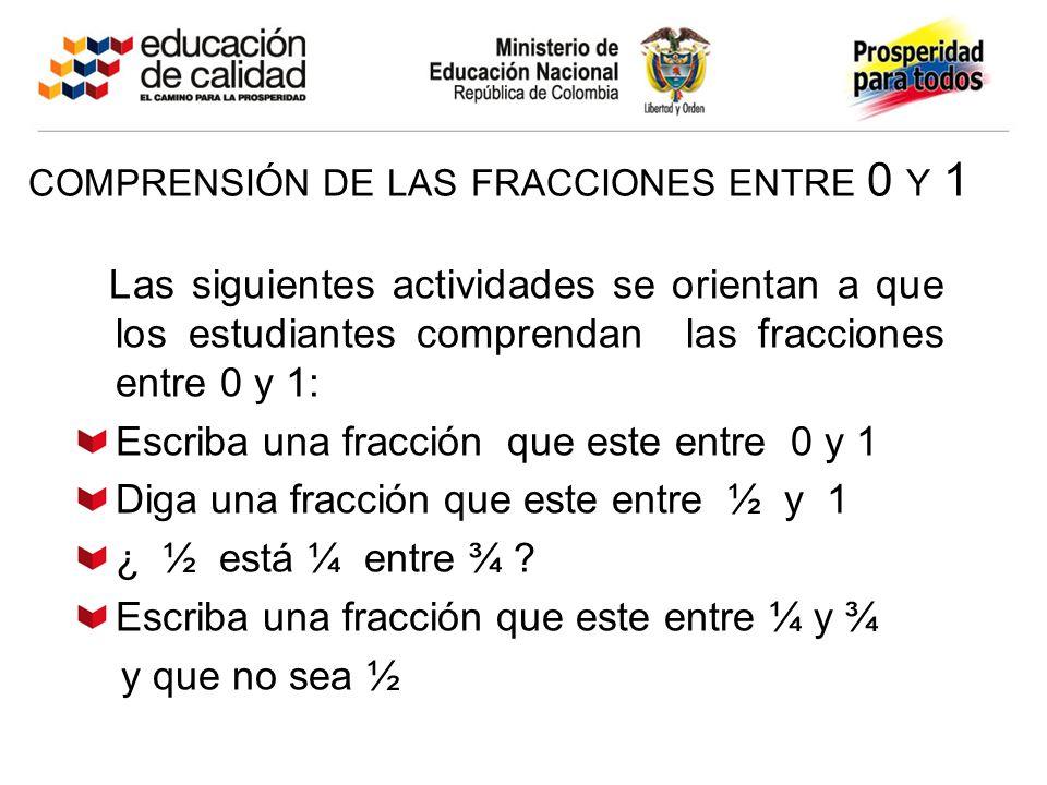 COMPRENSIÓN DE LAS FRACCIONES ENTRE 0 Y 1 Las siguientes actividades se orientan a que los estudiantes comprendan las fracciones entre 0 y 1: Escriba una fracción que este entre 0 y 1 Diga una fracción que este entre ½ y 1 ¿ ½ está ¼ entre ¾ .