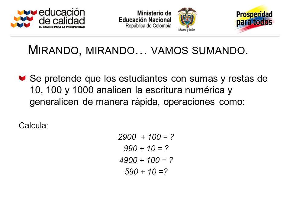 M IRANDO, MIRANDO … VAMOS SUMANDO. Se pretende que los estudiantes con sumas y restas de 10, 100 y 1000 analicen la escritura numérica y generalicen d