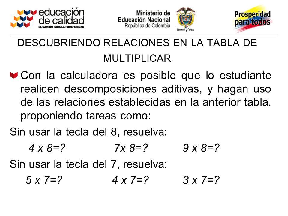 DESCUBRIENDO RELACIONES EN LA TABLA DE MULTIPLICAR Con la calculadora es posible que lo estudiante realicen descomposiciones aditivas, y hagan uso de las relaciones establecidas en la anterior tabla, proponiendo tareas como: Sin usar la tecla del 8, resuelva: 4 x 8=.
