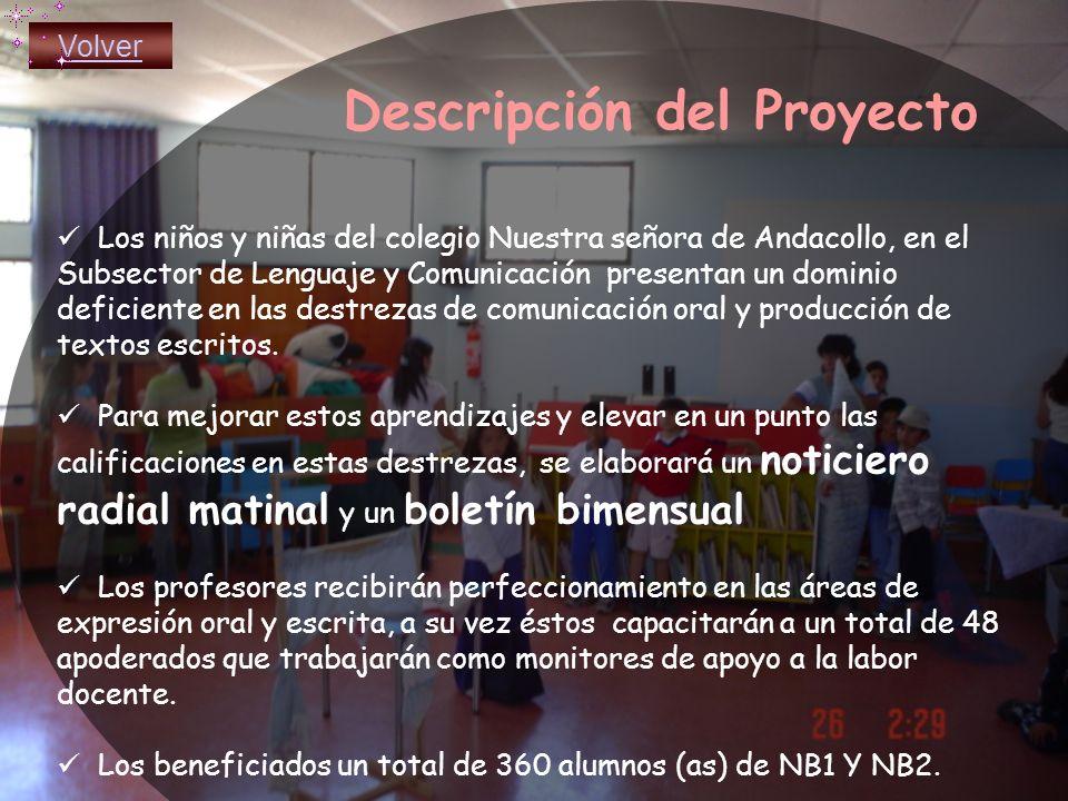 Descripción del Proyecto Los niños y niñas del colegio Nuestra señora de Andacollo, en el Subsector de Lenguaje y Comunicación presentan un dominio deficiente en las destrezas de comunicación oral y producción de textos escritos.