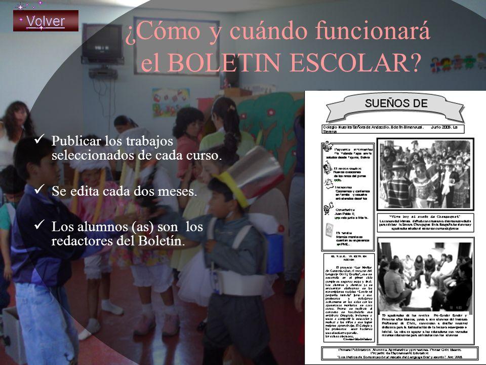 ¿Cómo y cuándo funcionará el BOLETIN ESCOLAR.Publicar los trabajos seleccionados de cada curso.