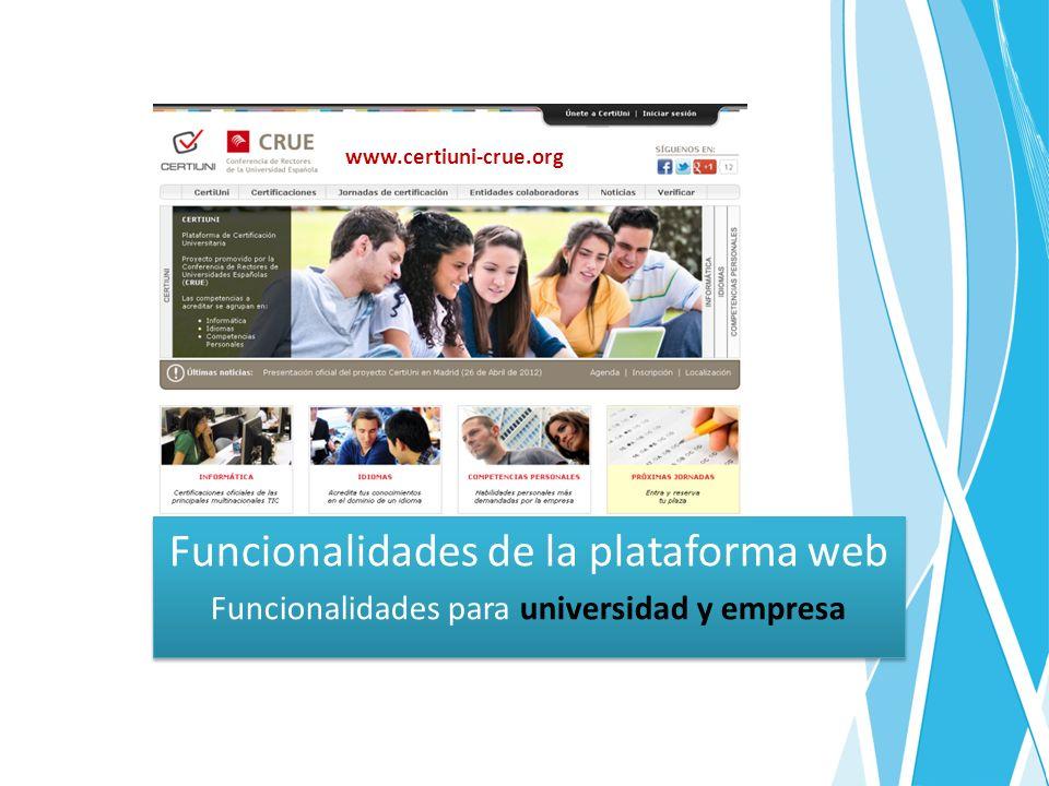 Funcionalidades de la plataforma web Funcionalidades para universidad y empresa Funcionalidades de la plataforma web Funcionalidades para universidad y empresa www.certiuni-crue.org