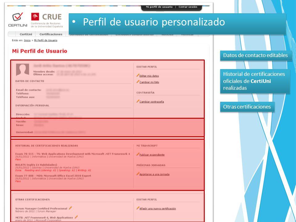 Perfil de usuario personalizado Datos de contacto editables Historial de certificaciones oficiales de CertiUni realizadas Historial de certificaciones oficiales de CertiUni realizadas Otras certificaciones