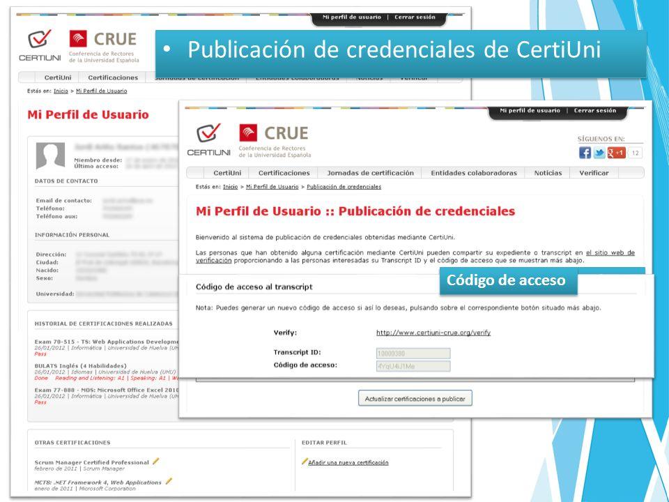 Publicación de credenciales de CertiUni Selección de certificaciones Código de acceso