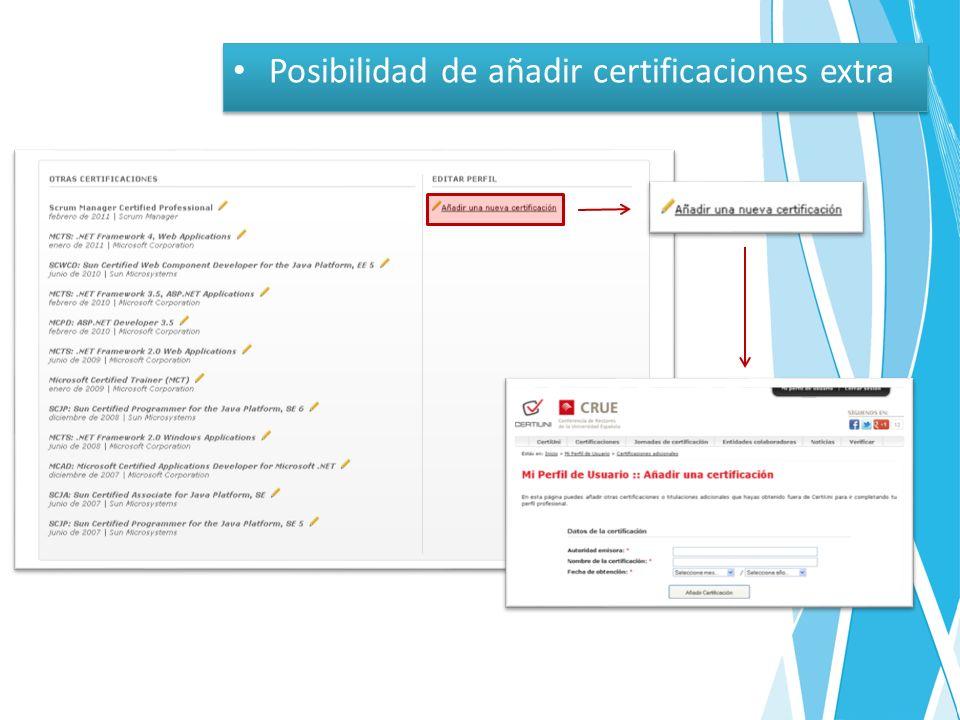 Posibilidad de añadir certificaciones extra