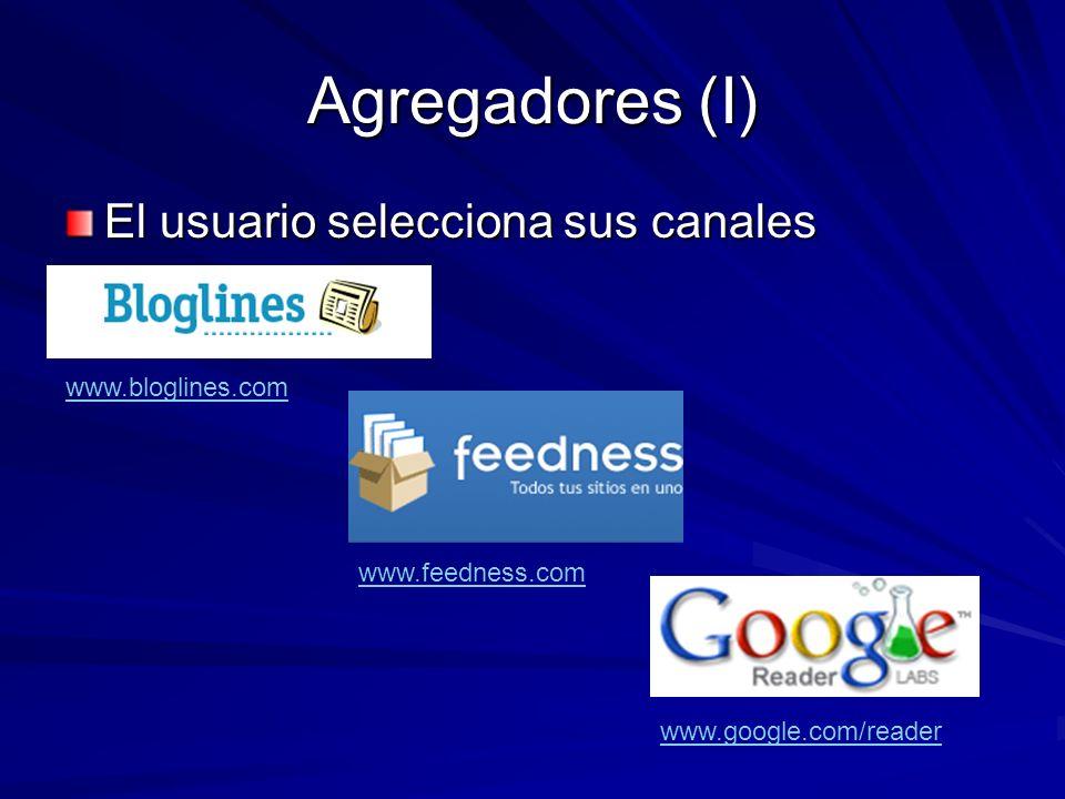 Agregadores (I) El usuario selecciona sus canales www.bloglines.com www.feedness.com www.google.com/reader