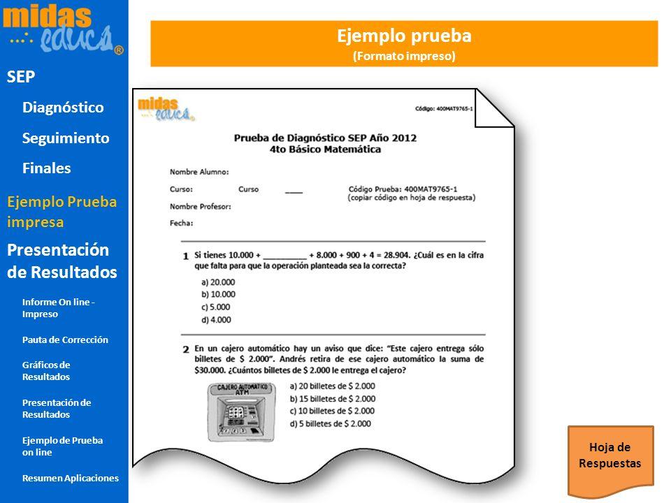 Ejemplo prueba (Formato impreso) Hoja de Respuestas SEP Diagnóstico Seguimiento Finales Presentación de Resultados Informe On line - Impreso Pauta de