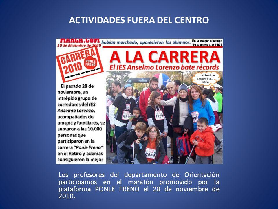 Los profesores del departamento de Orientación participamos en el maratón promovido por la plataforma PONLE FRENO el 28 de noviembre de 2010.