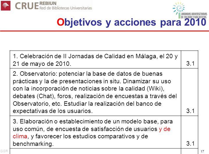 GGR 17 1. Celebración de II Jornadas de Calidad en Málaga, el 20 y 21 de mayo de 2010.3.1 2. Observatorio: potenciar la base de datos de buenas prácti