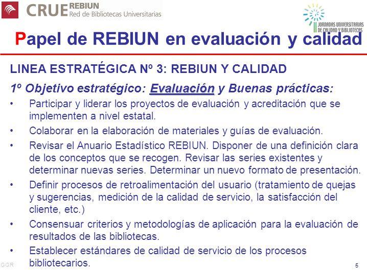 GGR 5 Papel de REBIUN en evaluación y calidad LINEA ESTRATÉGICA Nº 3: REBIUN Y CALIDAD Evaluación 1º Objetivo estratégico: Evaluación y Buenas prácticas: Participar y liderar los proyectos de evaluación y acreditación que se implementen a nivel estatal.