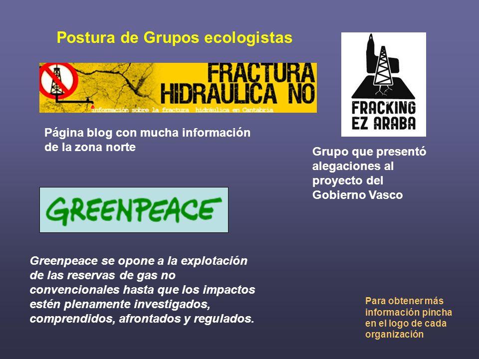 Postura de Grupos ecologistas Grupo que presentó alegaciones al proyecto del Gobierno Vasco Página blog con mucha información de la zona norte Greenpe