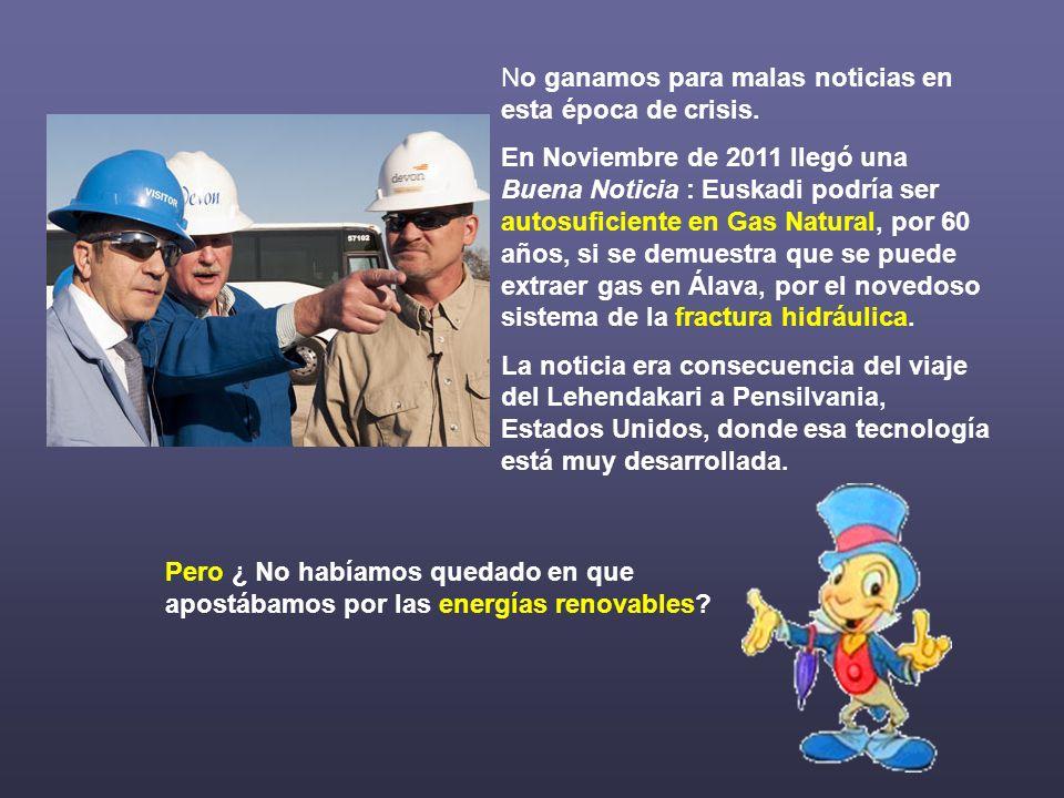 No ganamos para malas noticias en esta época de crisis. En Noviembre de 2011 llegó una Buena Noticia : Euskadi podría ser autosuficiente en Gas Natura