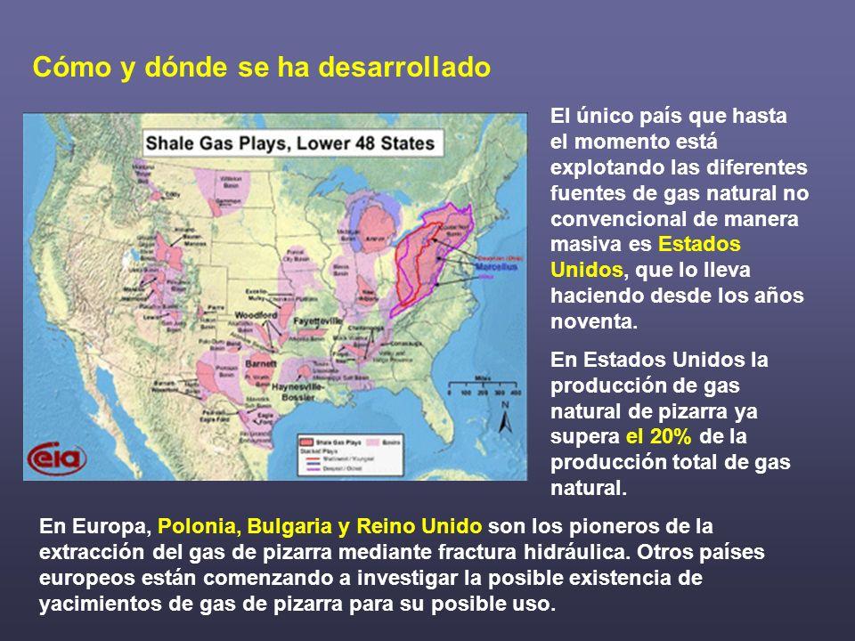 El único país que hasta el momento está explotando las diferentes fuentes de gas natural no convencional de manera masiva es Estados Unidos, que lo ll