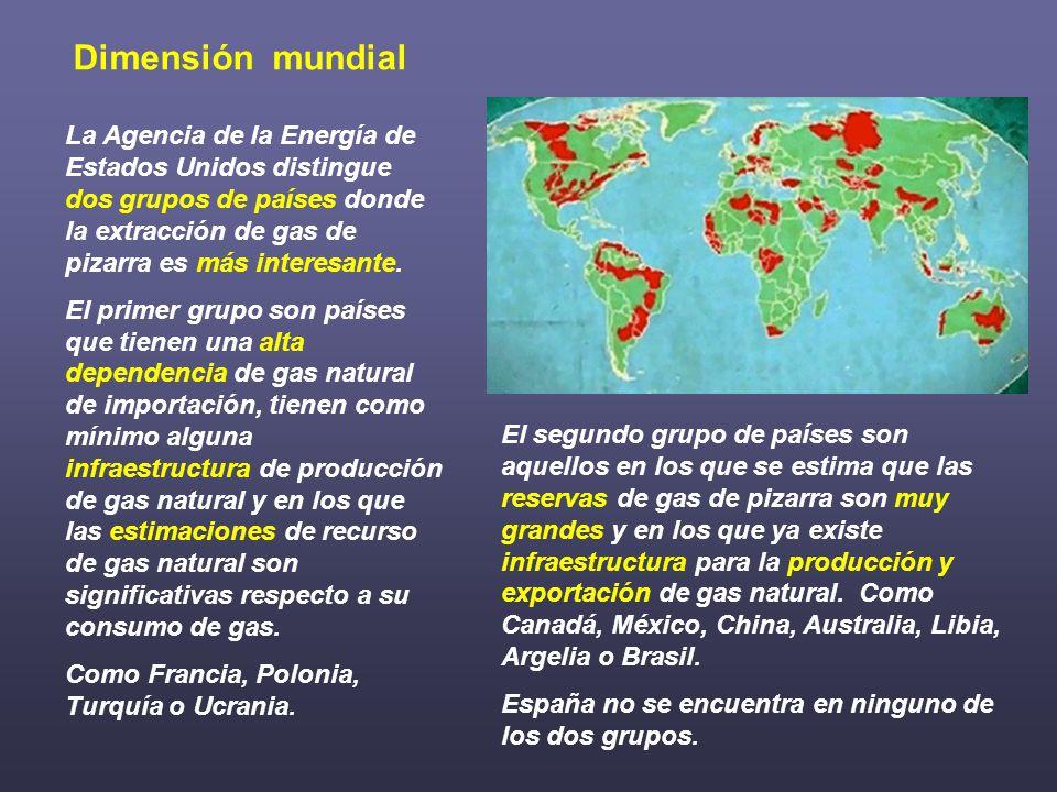 El segundo grupo de países son aquellos en los que se estima que las reservas de gas de pizarra son muy grandes y en los que ya existe infraestructura