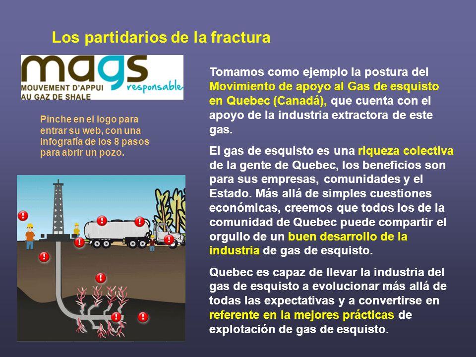 Tomamos como ejemplo la postura del Movimiento de apoyo al Gas de esquisto en Quebec (Canadá), que cuenta con el apoyo de la industria extractora de e