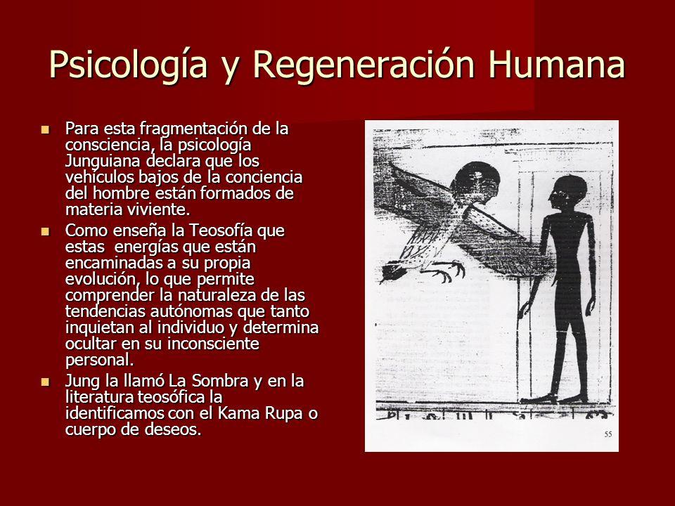 Psicología y Regeneración Humana Para esta fragmentación de la consciencia, la psicología Junguiana declara que los vehículos bajos de la conciencia del hombre están formados de materia viviente.